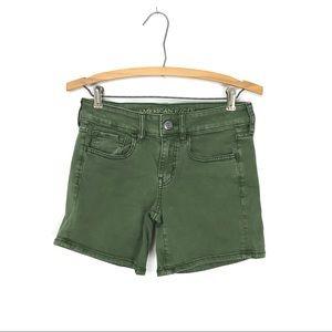 American Eagle Midi Shorts Olive Green Denim 2 C2